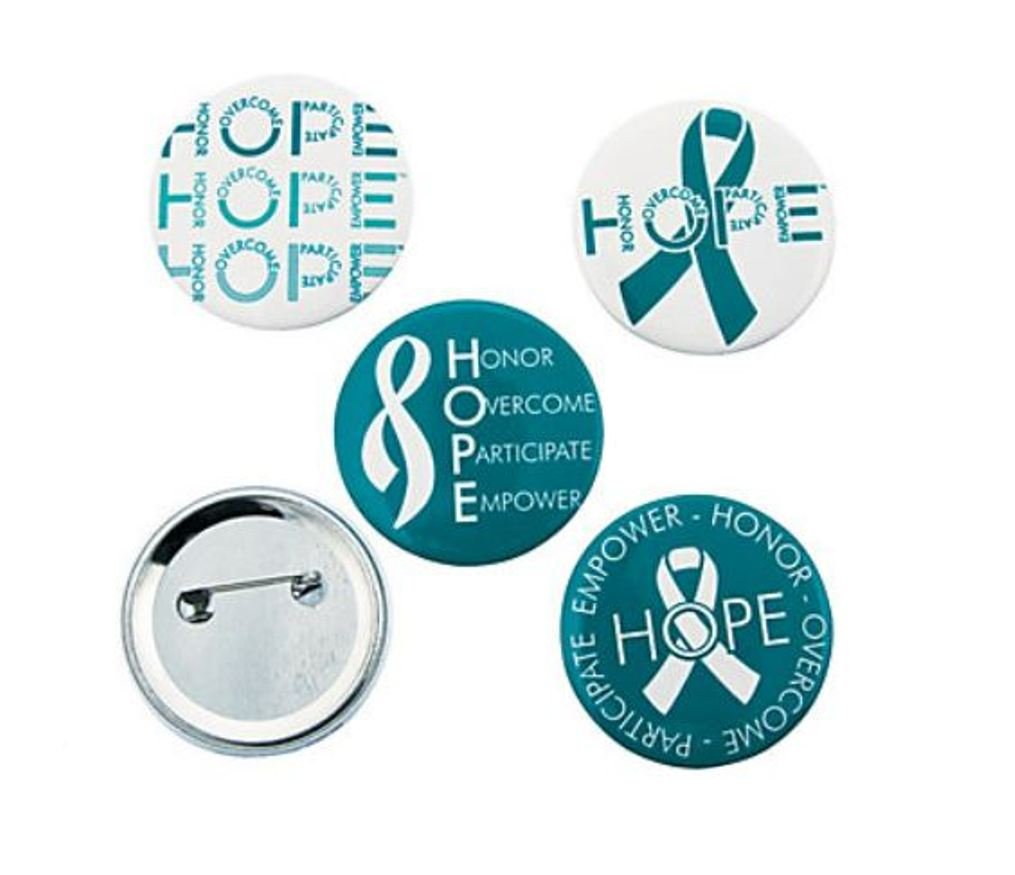 1 Free Cervical Awareness Button uterine cancer Anxiety disorders 100 Cervical Awareness Stickers Support Ovarian cancer cervical cancer