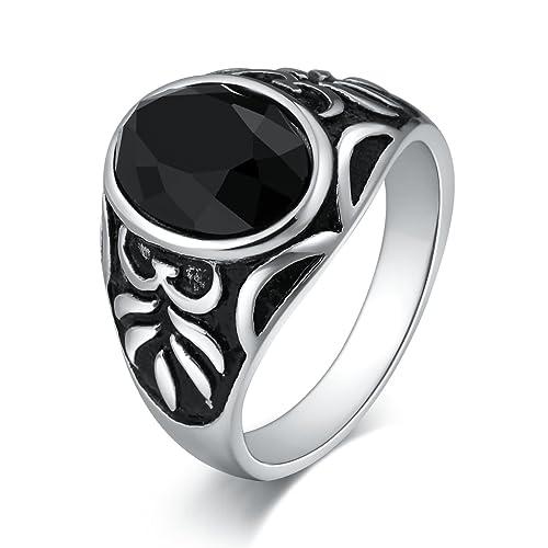 anello uomo acciaio nero