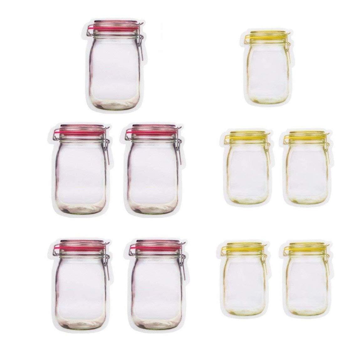 ABTP 10 Pieces Mason Jar Pattern Food Saver Storage Bags Set 500ml x 5 & 150ml x 5 Red/Yellow