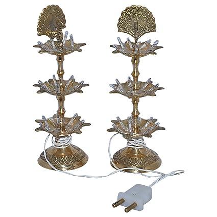 Rajasthan Emporium and Handicrafts Peacock Shape 3 Step Electric Brass Diya (Pair, 8 Inch)