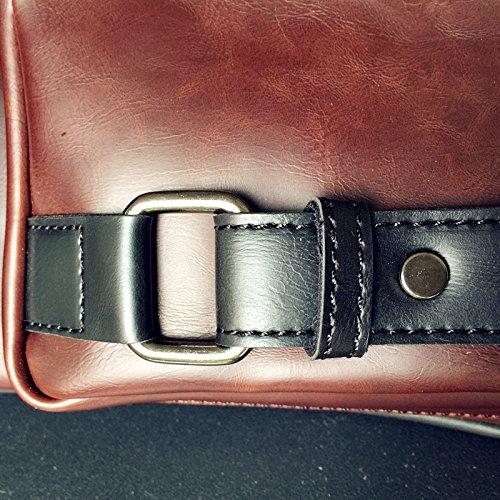 Moda cangurera para hombres Riñonera PU Bolsa pecho Pecho paquete Cuerpo cruz bolso Bolso ocasional-marrón claro Marrón oscuro