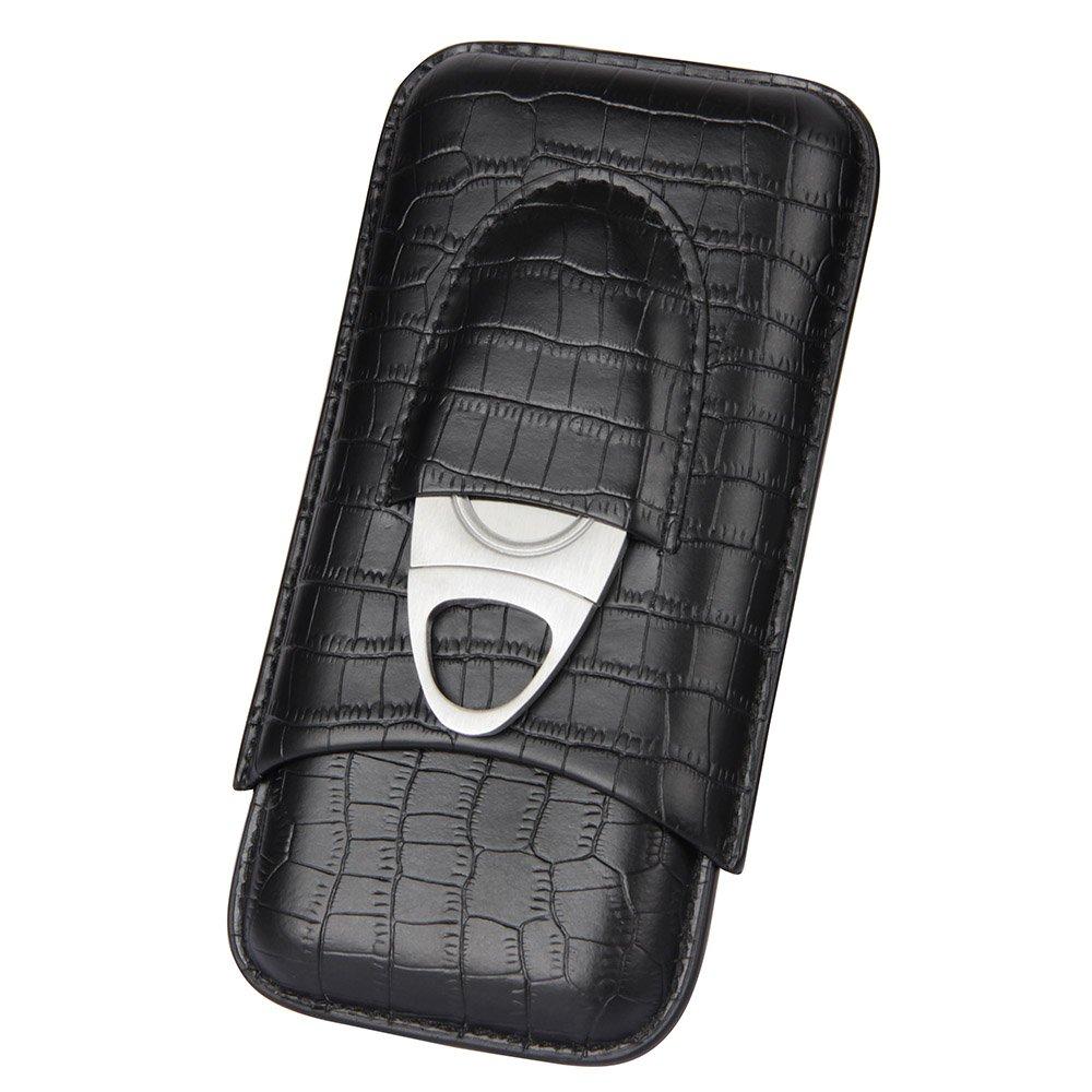 CIGARISM Crocodile Pattern Genuine Leather 3 Tube Cigar Holder Case Cutter Set (Black)
