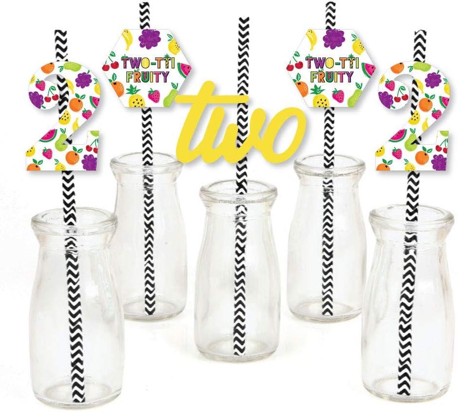 2nd Birthday Two-tti Fruity - Paper Straw Decor - Frutti Summer Second Birthday Party Striped Decorative Straws - Set of 24