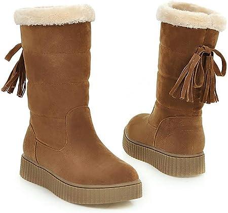 Mujer Botas De Nieve Invierno Cálido Botas Peluche Corto Botas Impermeable Zapatos De Algodon,Brown,42: Amazon.es: Hogar