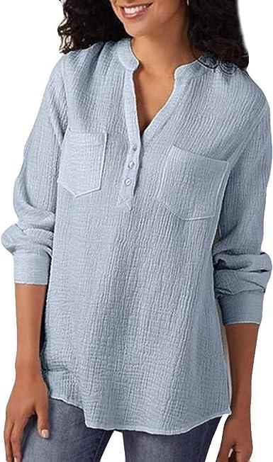 Reooly Camisa de algodón y Lino con Botones, Color Liso ...