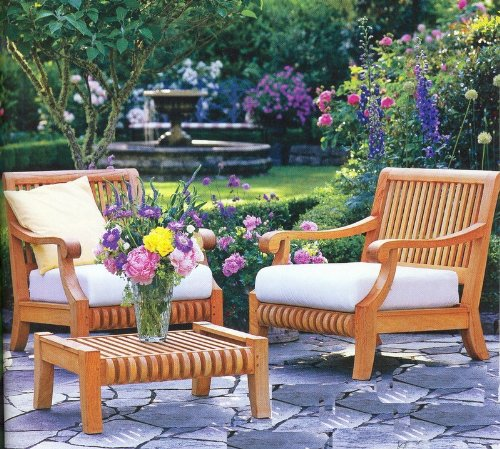 New Luxurious 3 Piece Teak Sofa Chair Set -2 Lounge Chairs and 1 Ottoman -Furniture only --Giva Collection #WFSSGV1