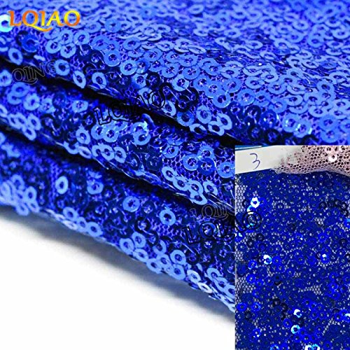 LQIAO Royal Blue Sequin Table Runner-14x108inch Sparkly Shimmer Sequin Fabric, Sequin Table Runner, Sequin Tablecloth, Table Linens Wedding Dining Party Shiny Decoration(18PCS) by LQIAO