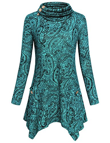 Womens Peasant Blouses,Hibelle Ladies Cotton Long Sleeve Falbala Designer Country Style Patterned Business A-line Flared Hemline Comfy Breathable Shirts Tunict Tops Green Medium