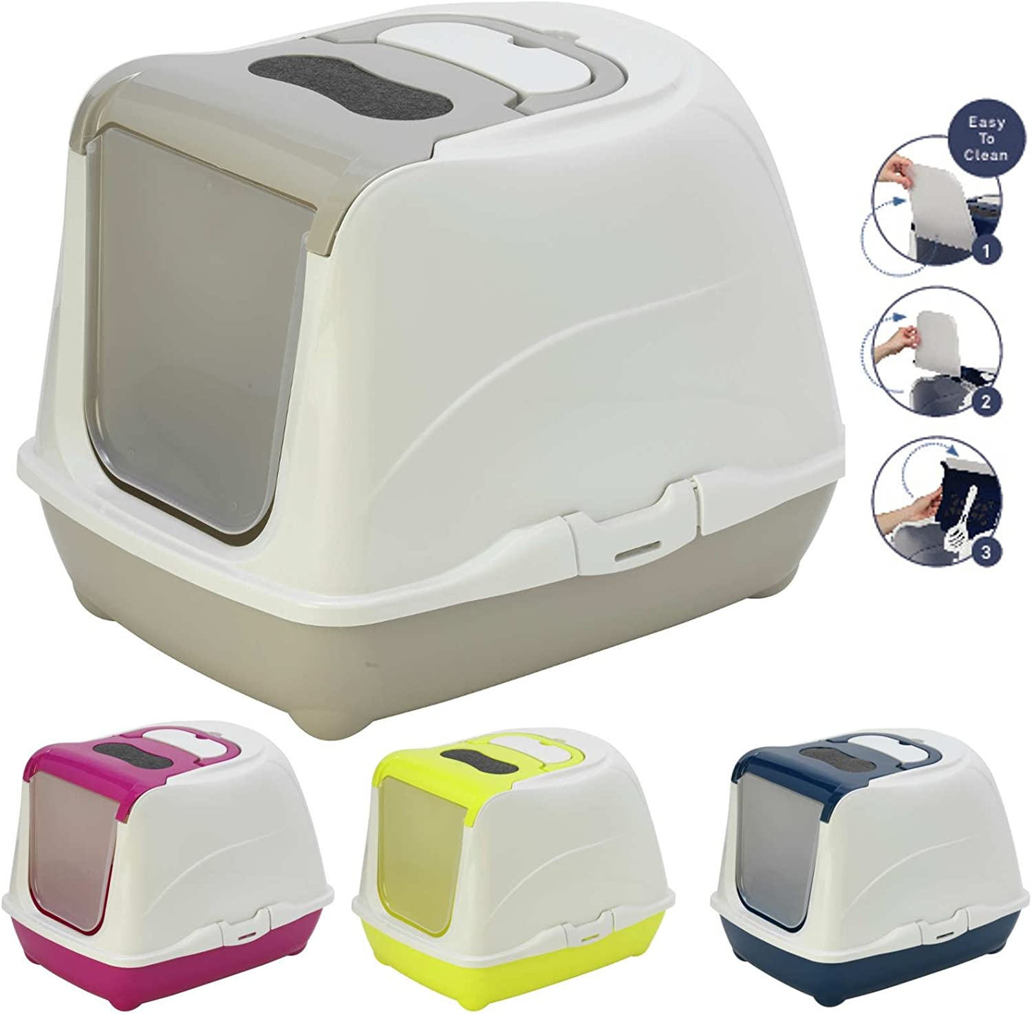 Yellow Cat Flip Litter Tray 4 Colours Box Hooded Pan Toilet Loo Carbon Filter Scoop
