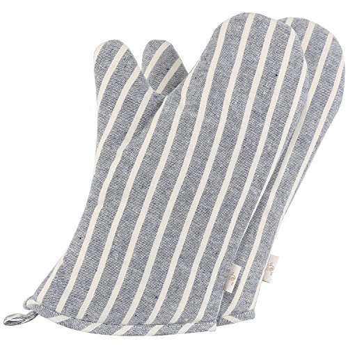 Striped Pot Holder - Neoviva Denim Quilted Heat Resistant Oven Mitt for Adult Women and Men, Set of 2, Chalk Striped Wild Dove