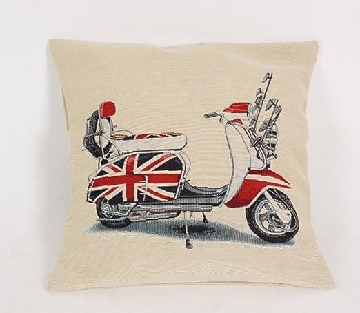 PRIMERAEDAD/Cojín jacard moto lambretta con bandera inglesa ...