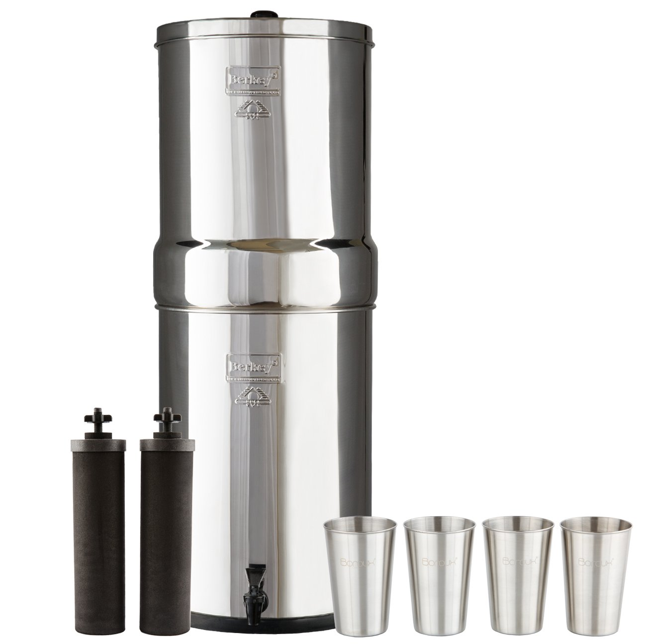 Crown Berkey Water Filter System with 2 Black Purifier Filters (6 Gallons) Bundled with 1-set of 4 Boroux 12 oz Stainless Steel Cups for drinking the best tasting water