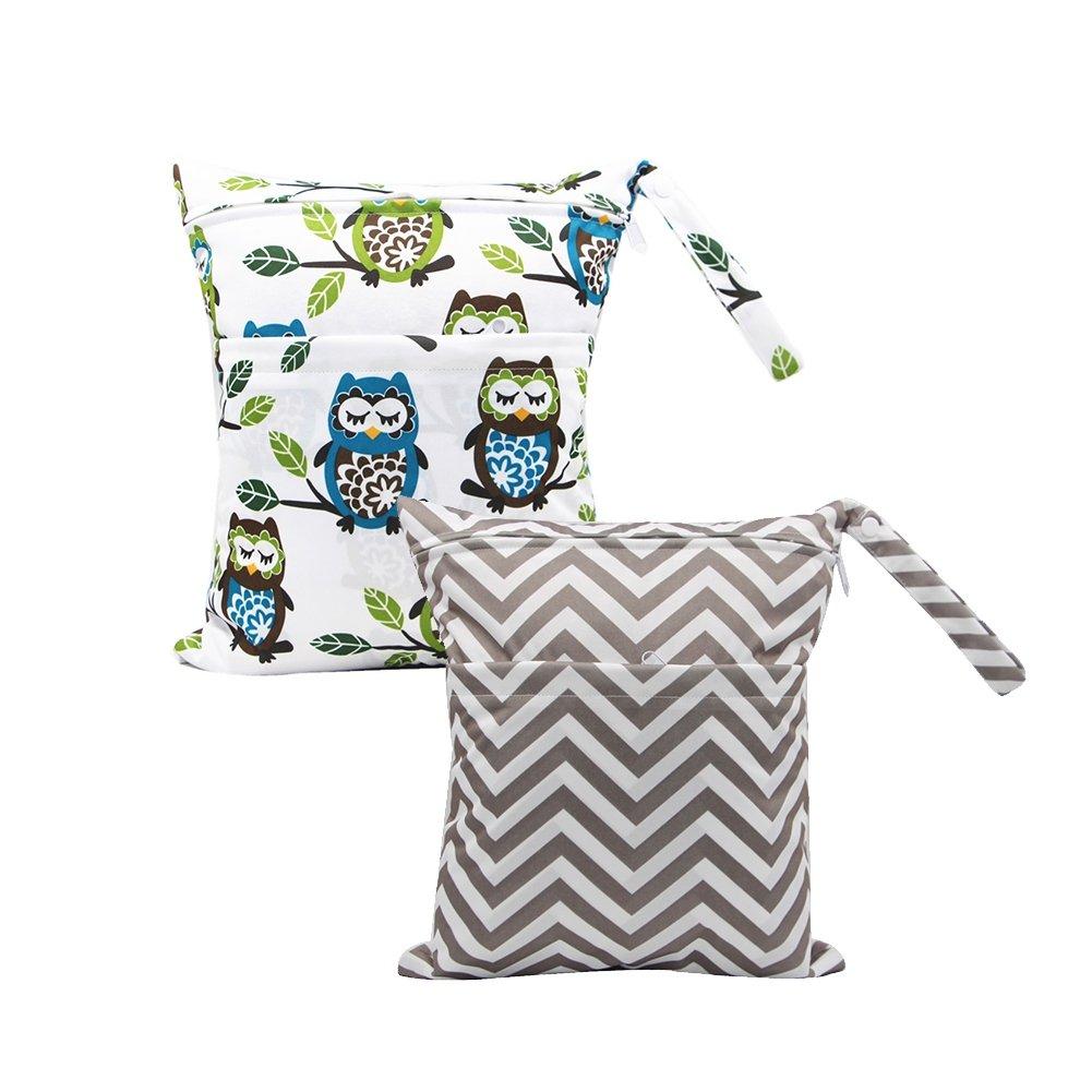 Baby Diaper Nappy Wet Bag, BOBORA Infants Waterproof Washable Reusable Baby Burp Nursing Cloths Storage Zipper Bags Pack of 2 BO-UK313-EN0433C