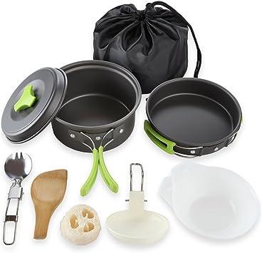 Qtiwe Juego de vajilla para camping, para exteriores, 10 piezas, plegable, para camping, senderismo, picnic, barbacoa, certificado por la FDA