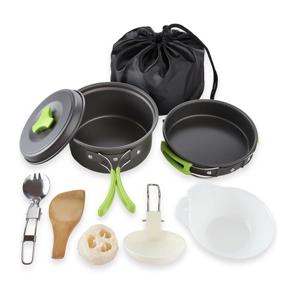 Cozywind Utensilios de Cocina para Camping para 1-2 Personas, Juego de Olla para Acampada y Senderismo, Portátil y Liviano para Cocinar al Aire Libre