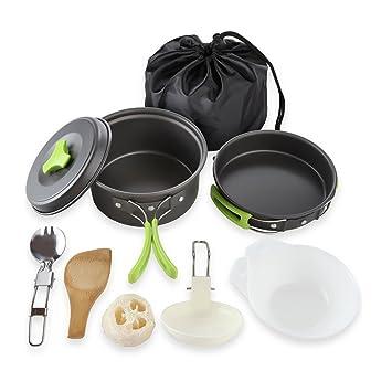 Cozywind Utensilios de Cocina para Camping para 1-2 Personas, Juego de Olla para Acampada y Senderismo, Portátil y Liviano para Cocinar al Aire Libre: ...