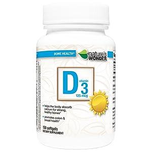 Nature's Wonder Vitamin D3 5000 IU (125mcg) Soft Gels, 150 Count