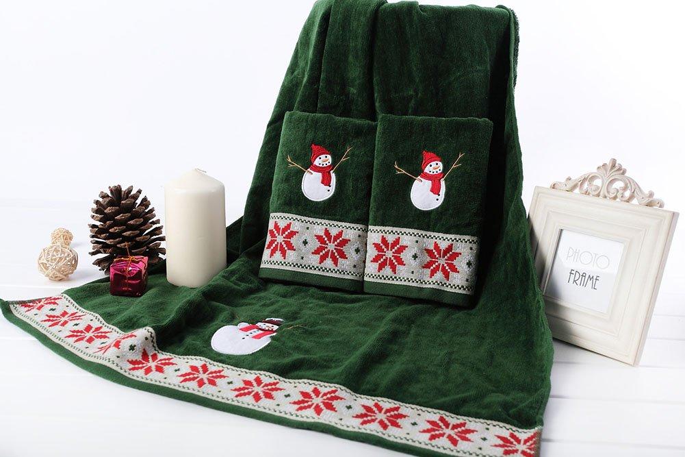 Toalla de Navidad dibujos animados muñeco de nieve algodón toalla Festive 3 Sets - 2 toallas de mano, 1 toalla de baño: Amazon.es: Hogar