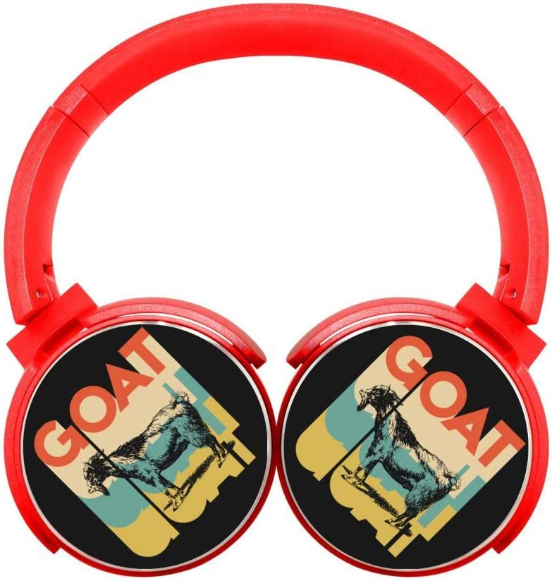 DNpni Vintage Style Goat Bluetooth Headphones Wireless Deep Bass Headsets On Ear HiFi Bluetooth Earphones Red