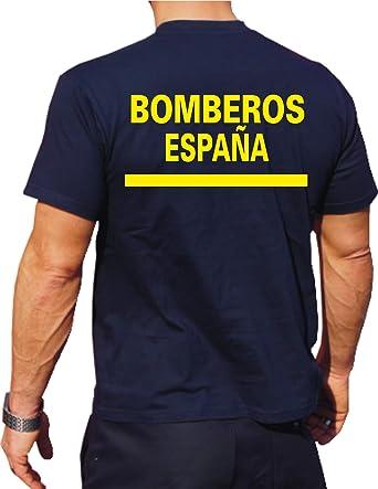 T-Shirt/Camiseta (Navy/Azul) Bomberos Espana, Fuente Amarilla, Bandera española: Amazon.es: Ropa y accesorios