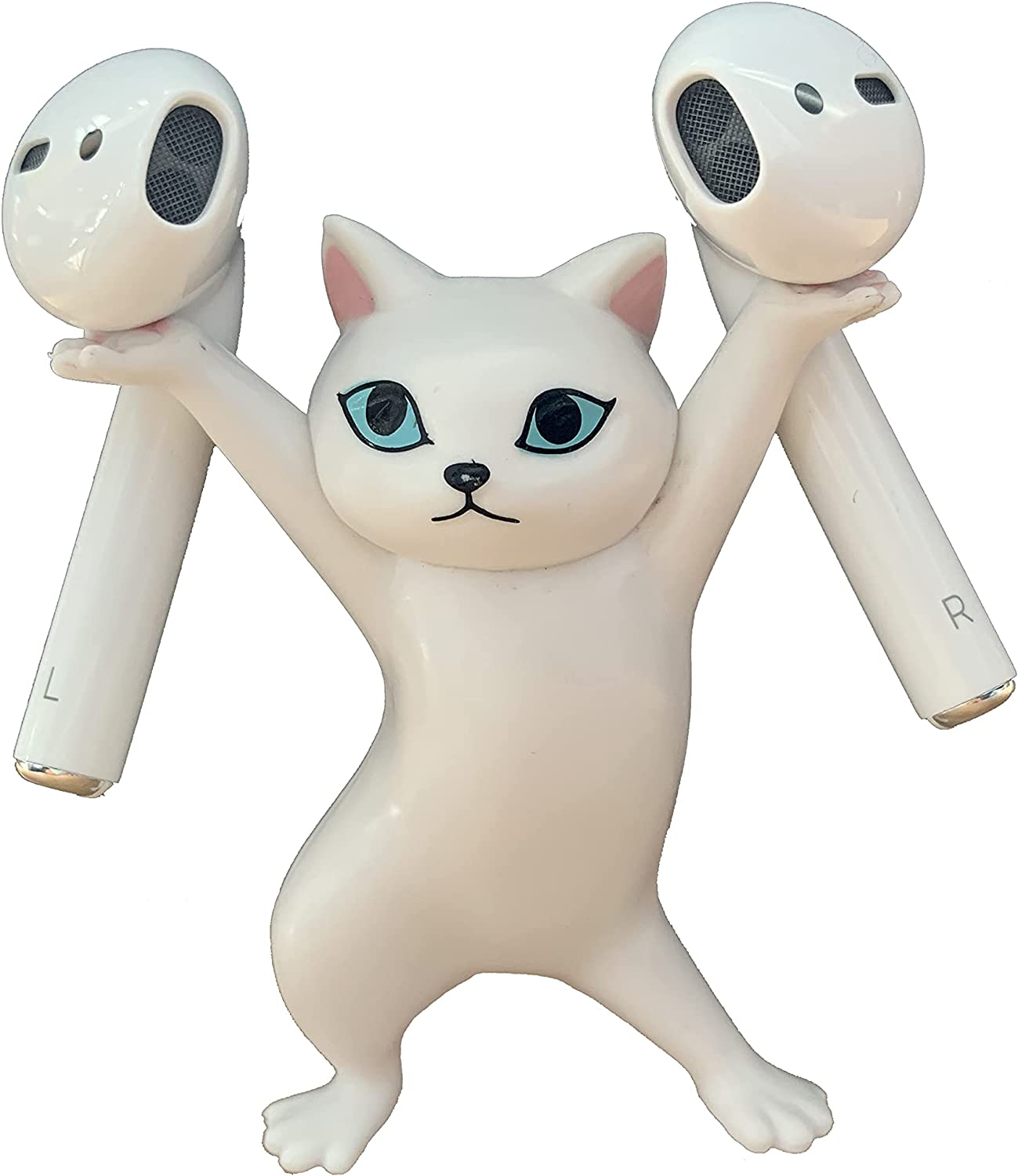 Cute Cat Headphone Stand Wireless Headset Holder Accessories Novelty Gifts for Apple AirPods 1&2 and Pro (White)