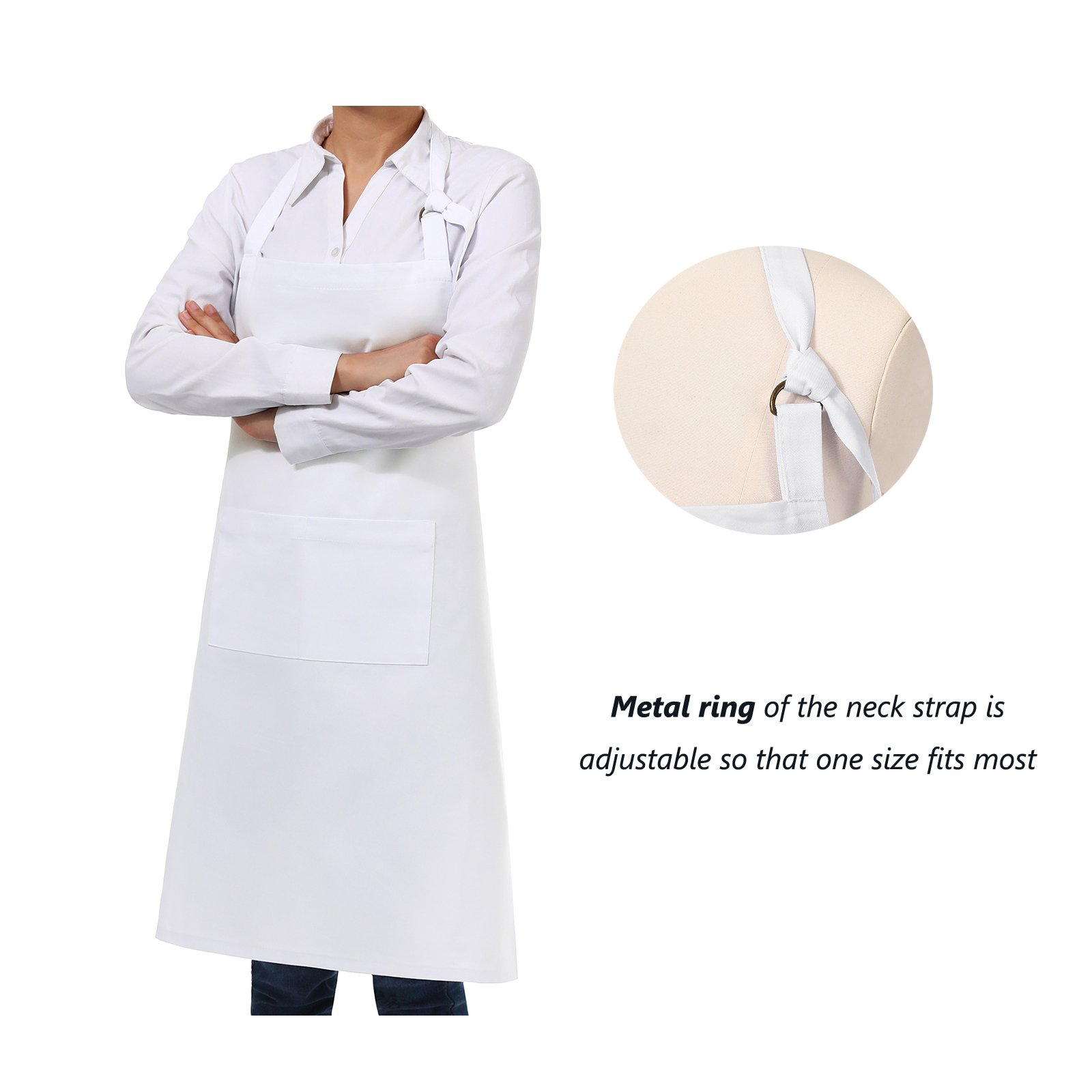 VEEYOO Adjustable Chef Bib Apron with 2 Pockets, Set of 2, Durable Spun Poly Cotton, Cooking Kitchen Restaurant Uniform Aprons for Men Women, 32x28 inches, White by VEEYOO (Image #3)