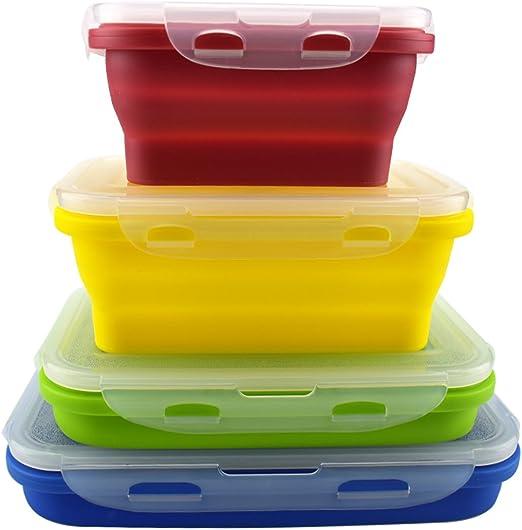 Set de 4 recipientes de silicona para almacenamiento de alimentos ...