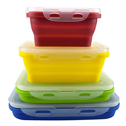 Amazoncom Set of 4 Silicone Food Storage Containers Silicone