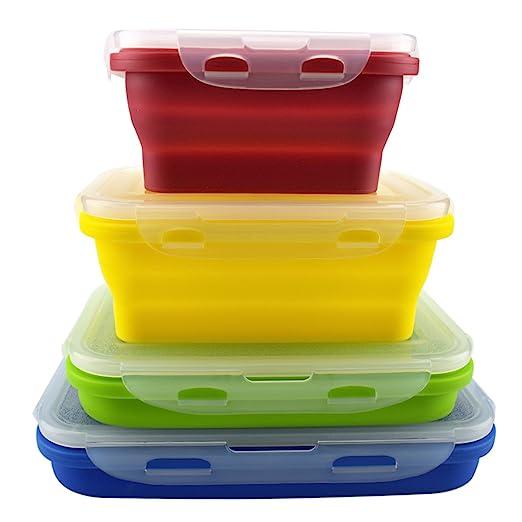 Set de 4 recipientes de silicona para almacenamiento de alimentos, para el almuerzo, sin BPA, aptos para microondas, lavavajillas y congelador.