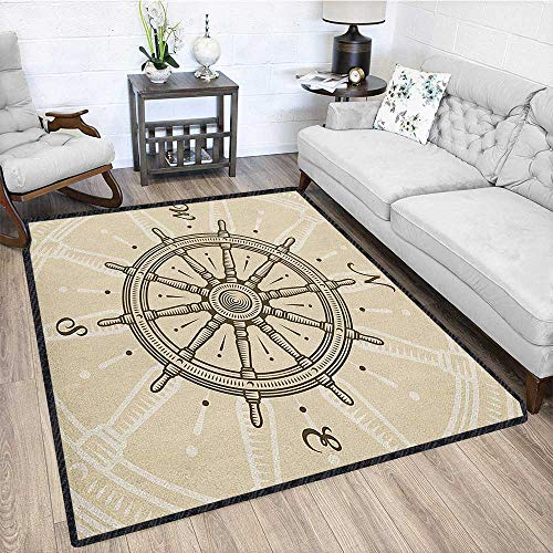 Ships Wheel Graceful Area Rug,Retro Ship Wheel Antique Sailboat Navigation Tool Monochromic Nostalgic Print for Home Decorate Beige Brown 79