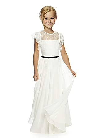 7ceb76ab5 Wedding Pageant Flower Girl Dresses lace Girl Dress with Multi-Colored Bow  Tie Sash 02