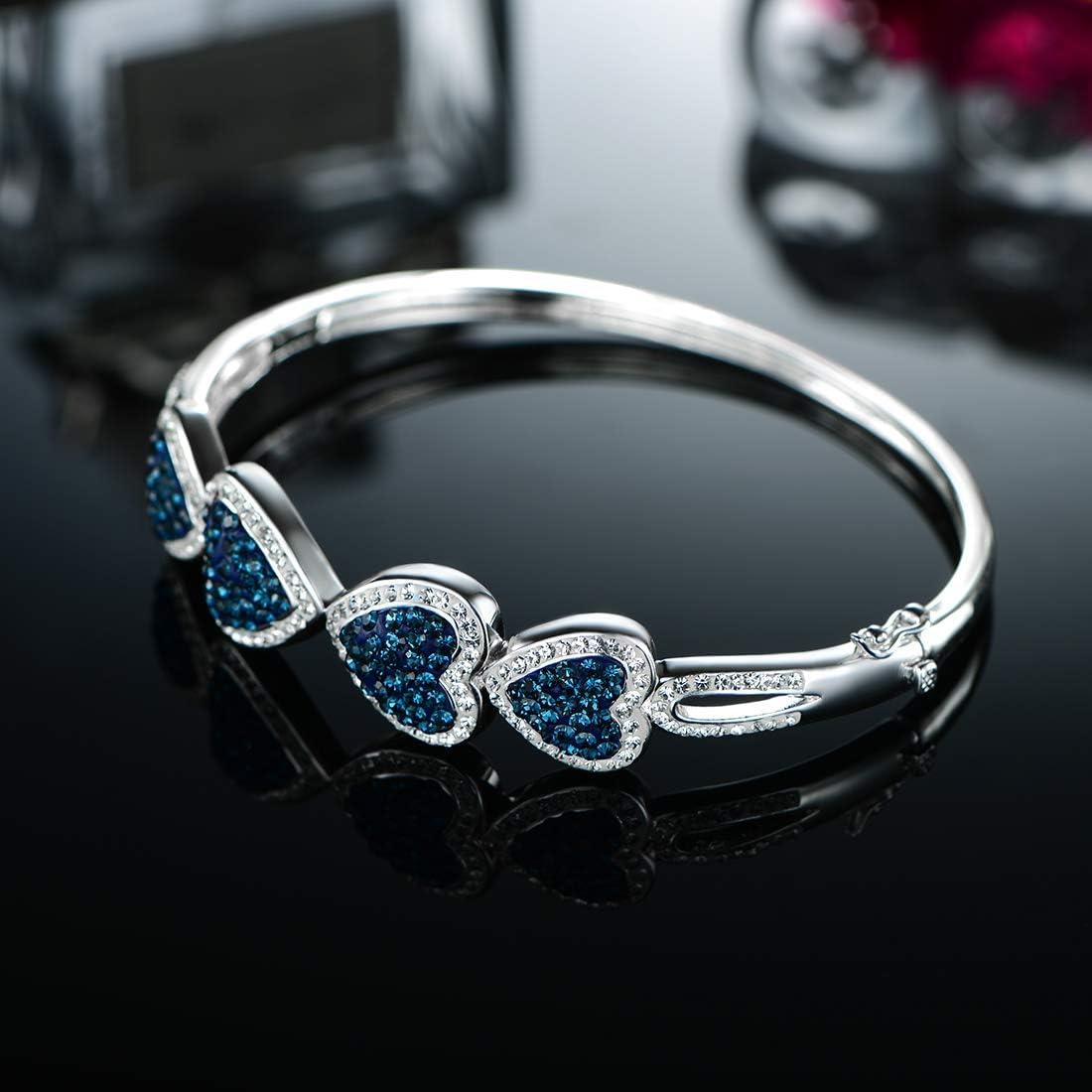 deep Blue-White Gold OPALTOP White Gold Plated Heart Bangle Bracelets Pink//Deep Blue Crystal for Her