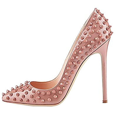 74fb48f9dbcafb Image Unavailable. Image not available for. Color  EKS Women s Nude Pointed  Toe Rivets Thin High Heels Dress Party Pumps ...
