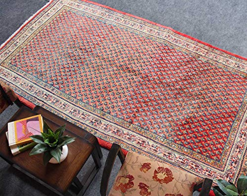 HeSamCrafts Hand Knotted Faded Beige and Red Wool Area Rug (5'3