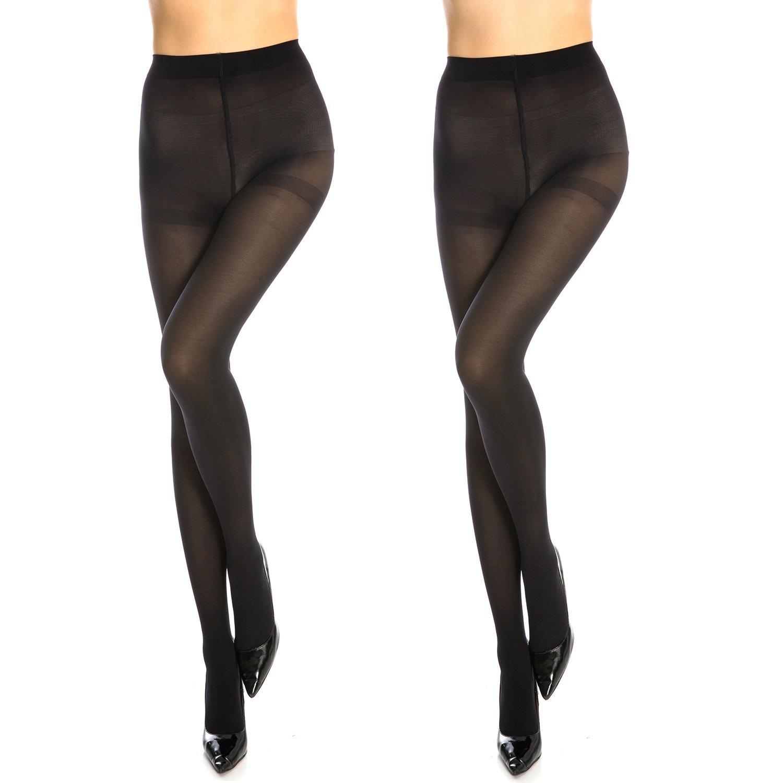 Manzi Women's 50 Den superfine fiber Opaque Control Top Pantyhose (2 Pairs)