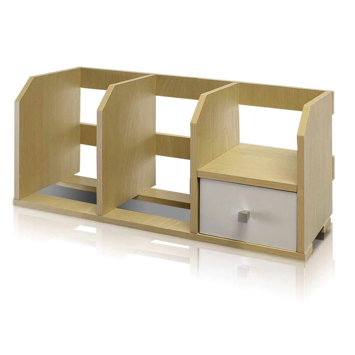Furinno 12247SBE/WH Pasir Desk Storage Shelf with Bin, Steam Beech/White