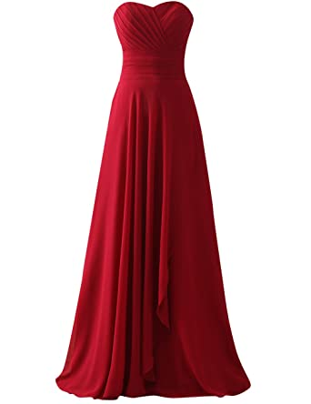 JAEDEN Long Prom Dresses Ruched Party Gown Chffin Strapless - Red -