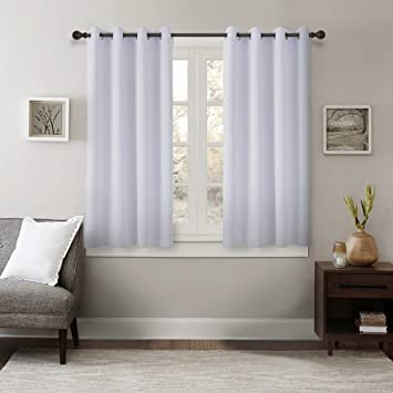 GIAERD 2 Panels Thermal Insulated Solid Grommet Top Blackout Curtains,White Window Treatment Room Darkening