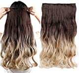 "23 25 Inches Curly Wavy Straight One Piece Clip in Hair Extensions Ombre Clip Ins Hairpiece (23""-Curly, Dark Brown to Ash Blonde)"
