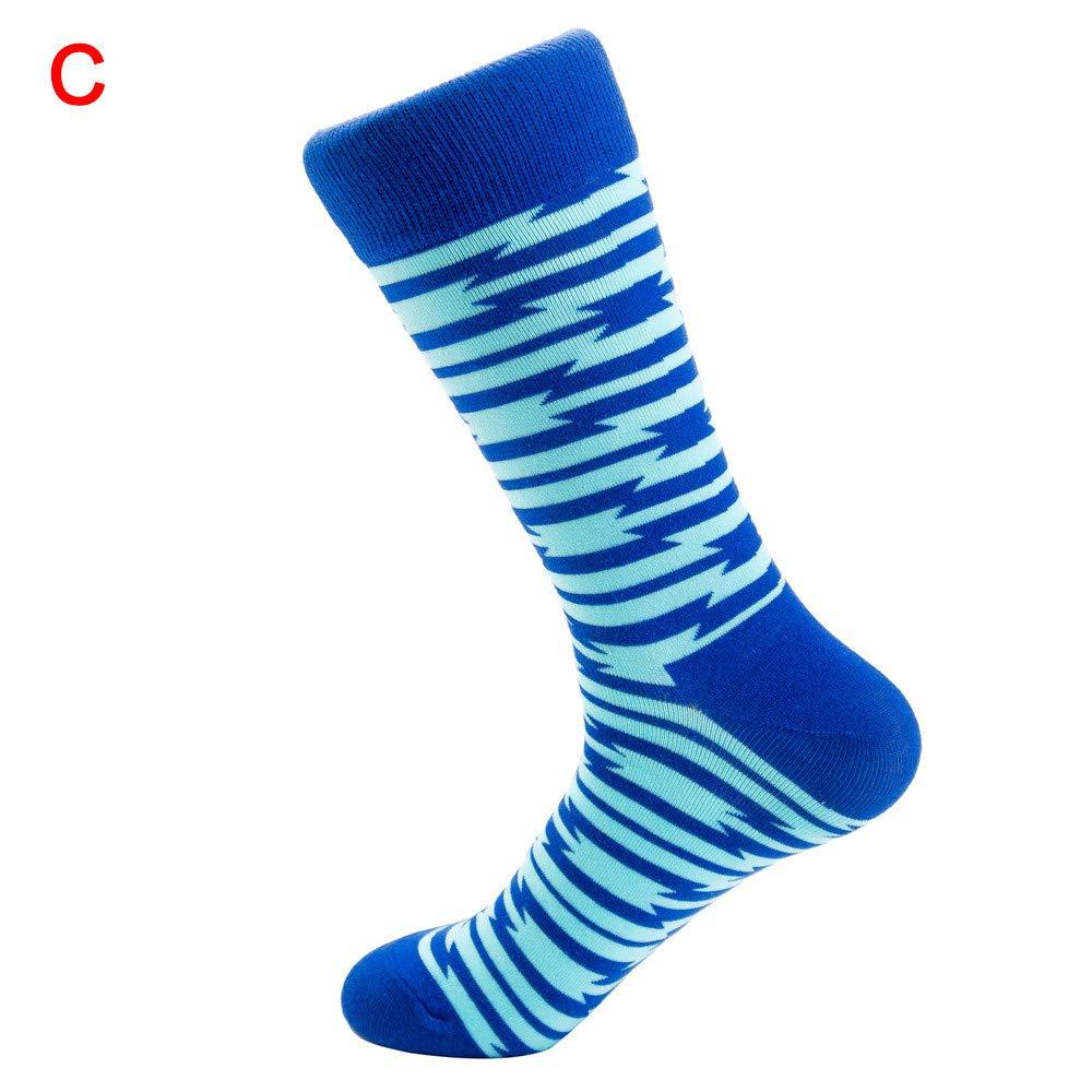 Unisex,Long Stockings,Colored Printed Cotton Leopard Stripe Print Warm Sock