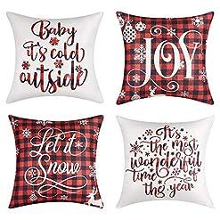 Christmas Farmhouse Home Decor Lanpn Christmas 22×22 Throw Pillow Covers, Decorative Outdoor Farmhouse Merry Christmas Xmas Lumbar Pillow Shams Cases… farmhouse christmas pillow covers