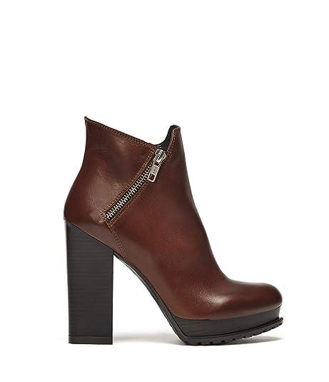 POI Lei - Zapatos de Mujer Plateau Botines Emma Marrón Botines Bloque tacón Piel Lisa, Color Marrón, Talla 37 EU: Amazon.es: Zapatos y complementos