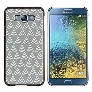Patrón Polígono Gris Blanco Minimalista- Metal de aluminio y de plástico duro Caja del teléfono - Negro - Samsung Galaxy E7 / SM-E700