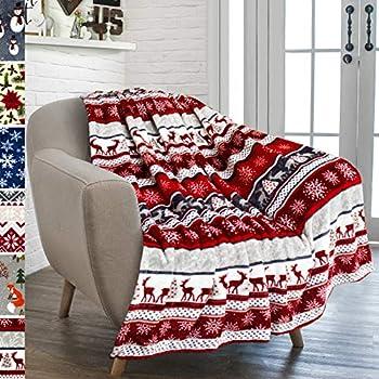 PAVILIA Premium Plush Fleece Throw Christmas Blanket | Soft, Warm, Cozy, Reversible Microfiber Fleece Winter Cabin Throw | Holiday Theme Blanket 50