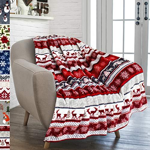 PAVILIA Christmas Throw Blanket | Holiday Christmas Reindeer Snowflakes Fleece Blanket | Soft, Plush, Warm Winter Cabin Throw, 50x60 (Christmas Red) (Fuzzy Christmas Blankets)