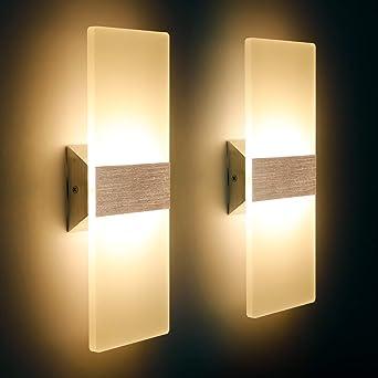LED Wandleuchte Innen 9W Mordern Wandlampe Acryl Wandbeleuchtung Warmweiß  9K für Wohnzimmer Schlafzimmer Treppenhaus Flur (9 Pack)