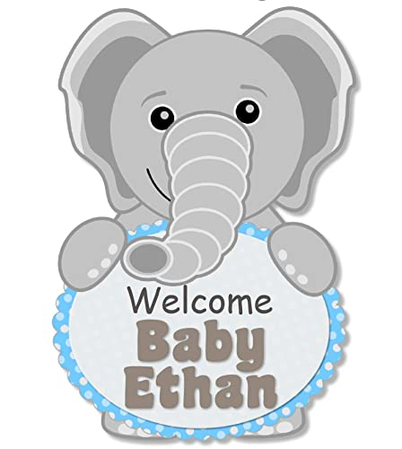 Amazon Com Personalized Blue Elephant Baby Shower Or Birthday Party Welcome Sign For Boy With Optional Decorations Banner Cake Topper Centerpiece Favor Tags Or Stickers Thank Yous Made In Usa Bcpcustom