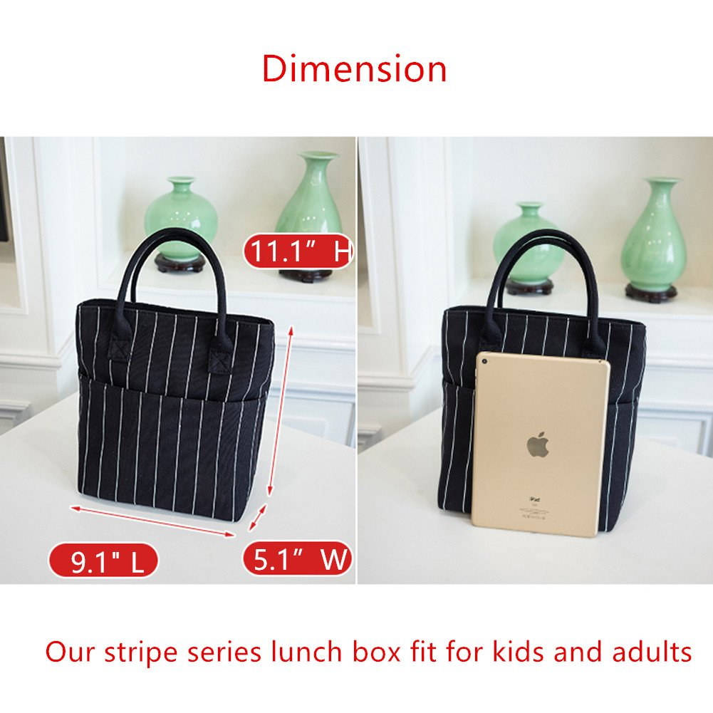 Heymoko Medium Insulated Lunch Bag Stripe Durable Canvas Lunch Tote High Capacity Lunch Box for Girls Women, Suitable for School Work Shopping (Black-Stripe) by Heymoko (Image #5)