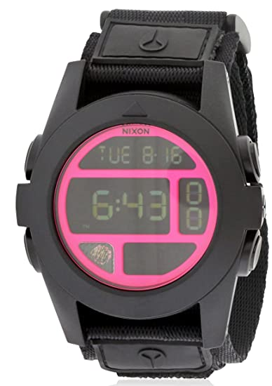 Nixon hombre 50 mm correa nylon negro caja policarbonato cuarzo Digital reloj a489480: Amazon.es: Relojes