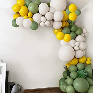 132pcs Retro Olive Green Balloon Garland Yellow White Balloon for Baby Shower Birthday Decor Wedding Party Supplies